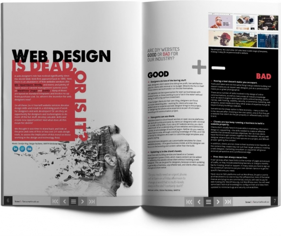 Magazine spread - article about web design