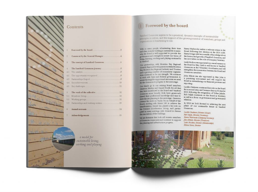 Samford Commons Annual report page layout