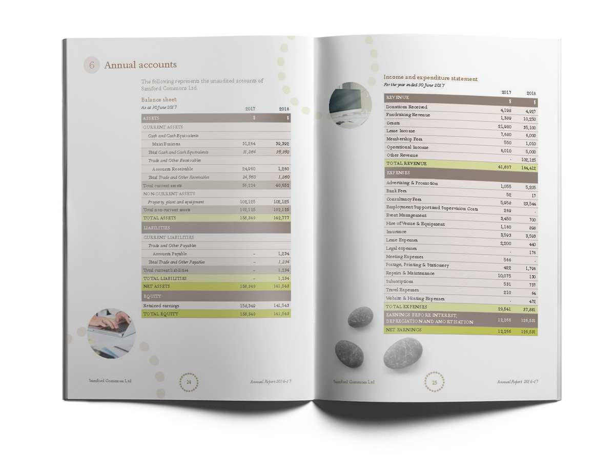 Samford Commons Annual report - financials page layout