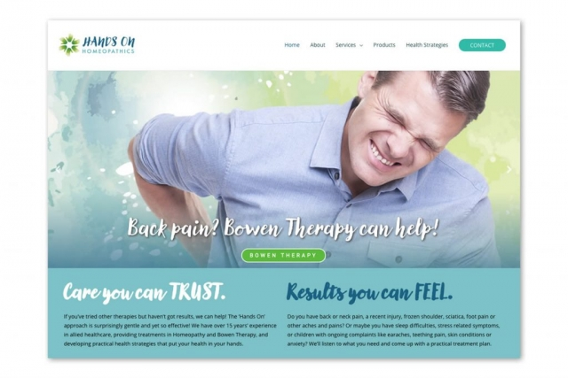 Website homepage showing help for back pain