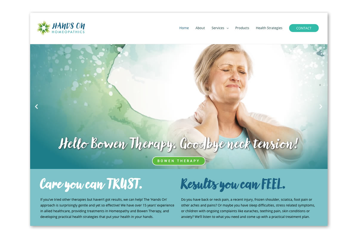 Website homepage showing help for neck pain