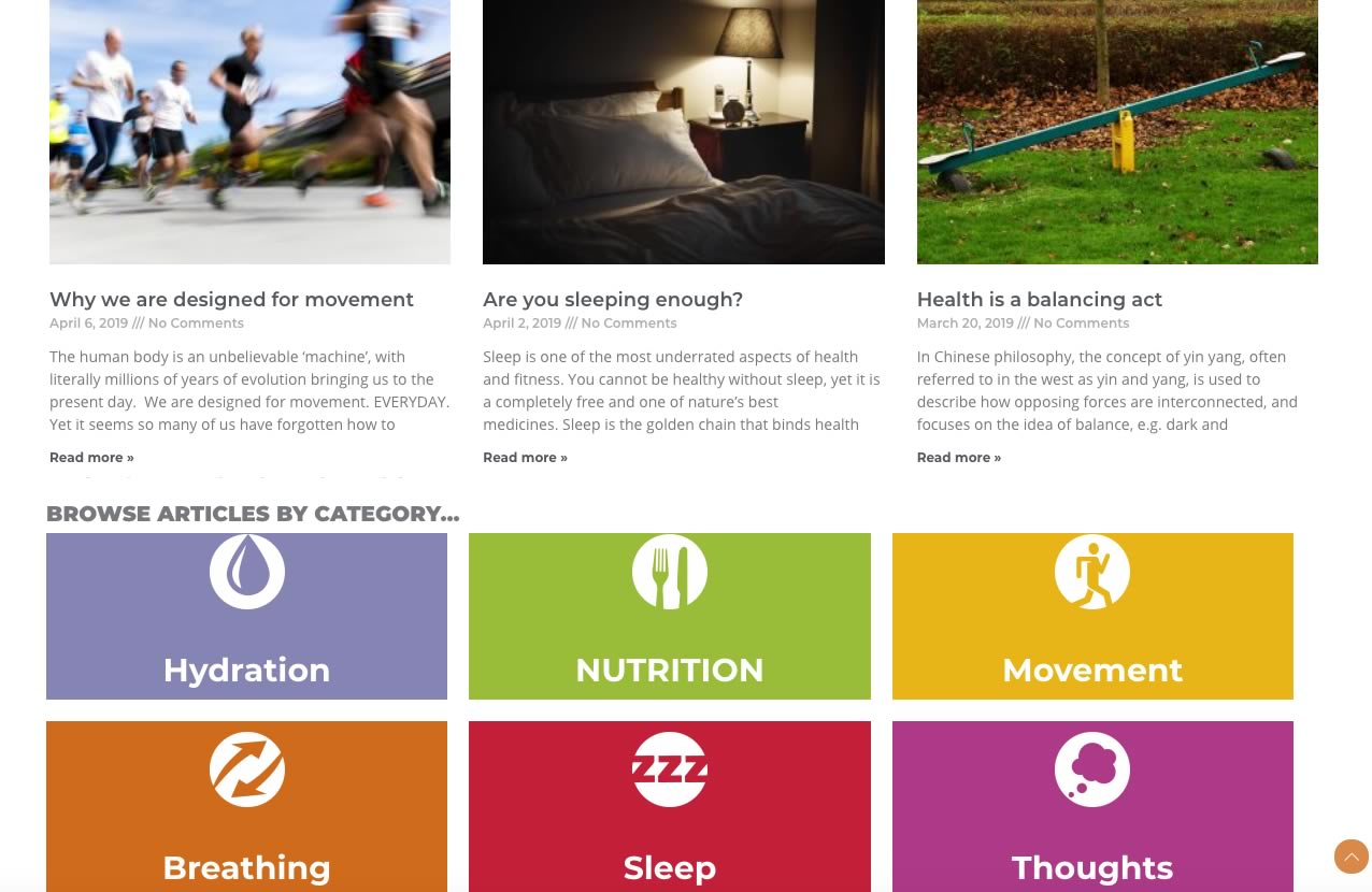 Nick Ellson health articles page showing categories