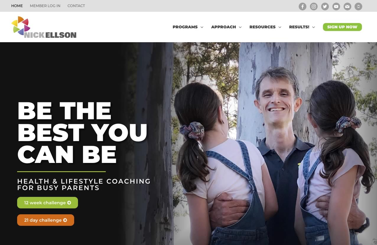 Nick Ellson health coaching website