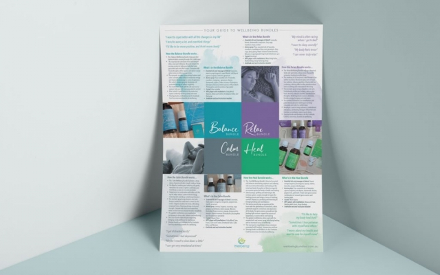 A3 poster opened out from A5 product brochure for wellbeing bundles