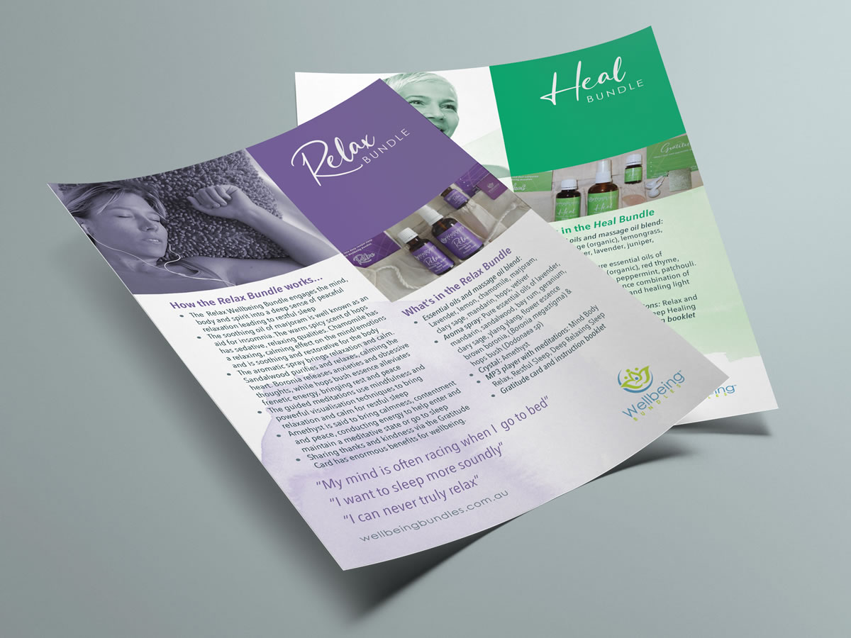 printed product info sheets for wellbeing bundles