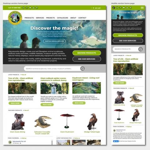 Natureworks homepage layouts